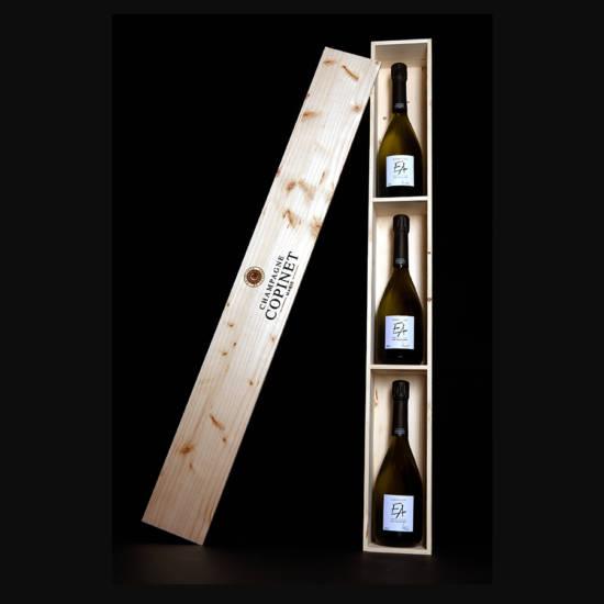 Champagne-Marie-Copinet-Coffret-Epreuve-Artiste-Blanc-de-Blancs-parcellaires-serie-limitee-flacons-numerotes
